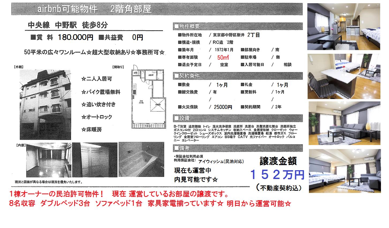 8名収容 家具☆家電付 譲渡物件! 【民泊 物件】民泊(airbnb)可能物件 中野駅 物件情報